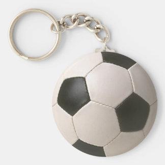 fútbol blanco negro de 3D Soccerball Llavero Redondo Tipo Pin