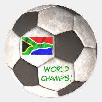 """Fútbol campeones del mundo"""" del balón de fútbol de pegatina redonda"""