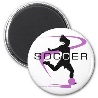 Fútbol - chicas - rosa imán redondo 5 cm