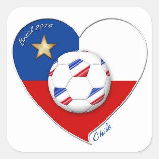 "Fútbol ""CHILE"" 2014. Chilean national soccer team Calcomanía Cuadradas"