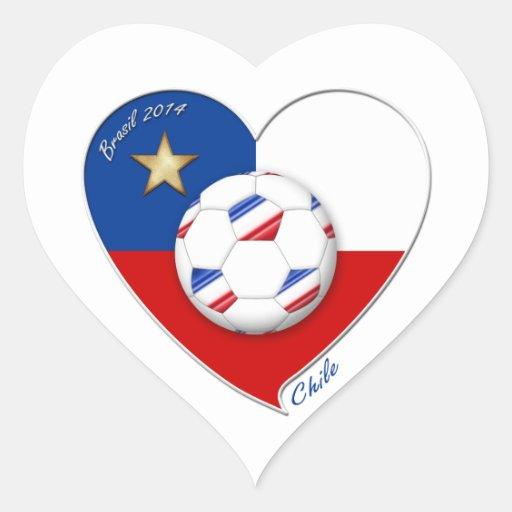 "Fútbol ""CHILE"" 2014. Chilean national soccer team Calcomanía De Corazón Personalizadas"