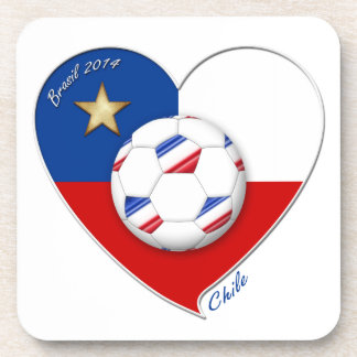 "Fútbol ""CHILE"" 2014. Chilean national soccer team Posavasos De Bebida"