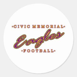 Fútbol conmemorativo cívico pegatina redonda