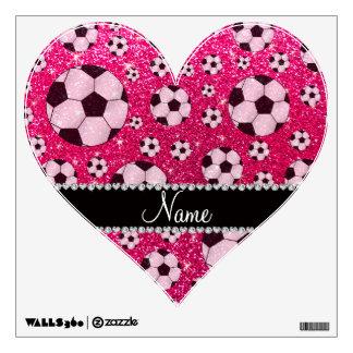 Fútbol conocido personalizado del brillo del rosa vinilo decorativo