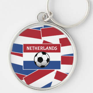 Fútbol de bandera holandés llavero redondo plateado