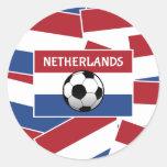 Fútbol de bandera holandés pegatina redonda