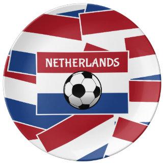 Fútbol de bandera holandés platos de cerámica