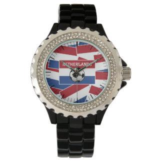 Fútbol de bandera holandés reloj de mano