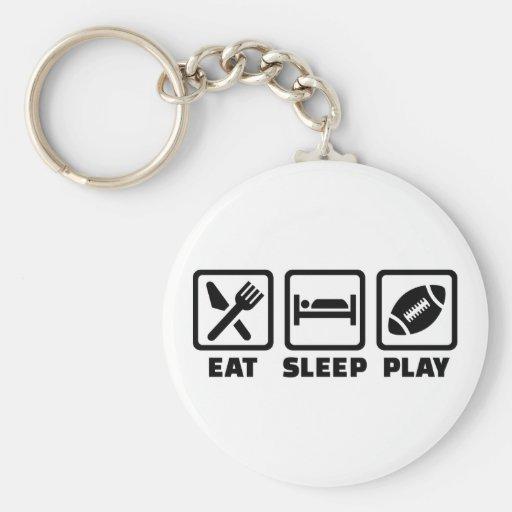 Fútbol de Eat Sleep Play Llaveros Personalizados