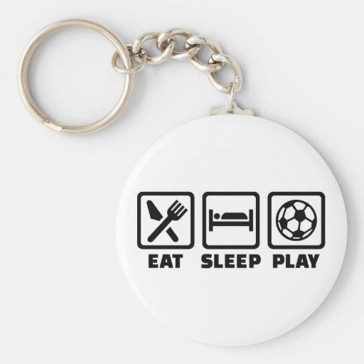 Fútbol de Eat Sleep Play Llaveros