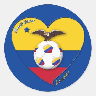 Fútbol de ECUADOR. Ecuadorian National Team Soccer Pegatina Redonda