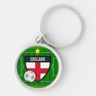 Fútbol de Inglaterra Llavero Redondo Plateado