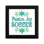 Fútbol de la alegría de la pasión caja de recuerdo