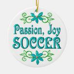 Fútbol de la alegría de la pasión adorno de navidad