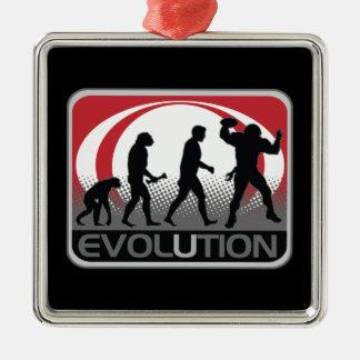 Fútbol de la evolución adorno navideño cuadrado de metal