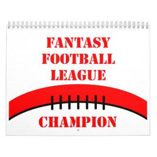 Fútbol de la fantasía calendario de pared