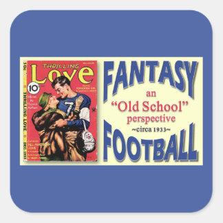 Fútbol de la fantasía de la escuela vieja pegatinas cuadradases