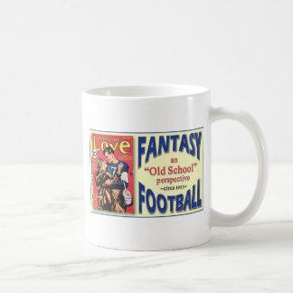 Fútbol de la fantasía de la escuela vieja taza básica blanca