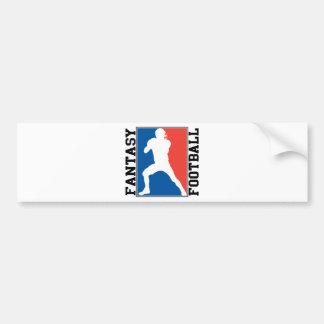 Fútbol de la fantasía, logotipo blanco y azul rojo etiqueta de parachoque