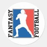 Fútbol de la fantasía, logotipo blanco y azul rojo etiquetas