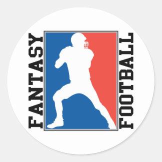 Fútbol de la fantasía, logotipo blanco y azul rojo pegatina redonda