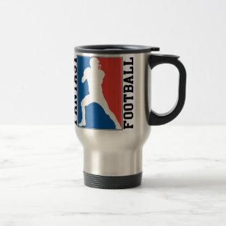 Fútbol de la fantasía, logotipo blanco y azul rojo taza de café