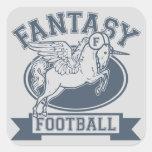 Fútbol de la fantasía pegatina cuadradas personalizada