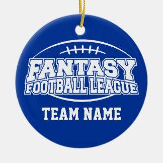 Fútbol de la fantasía - regalo divertido de los adorno navideño redondo de cerámica