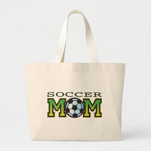 Fútbol de la mamá bolsa lienzo
