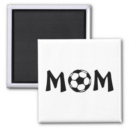 Fútbol de la mamá imán cuadrado