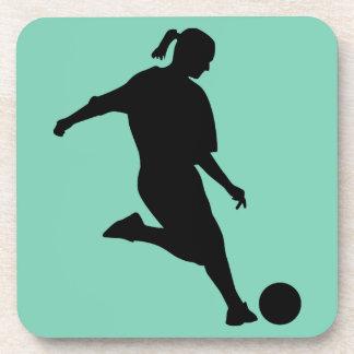 fútbol de la mujer posavasos de bebida