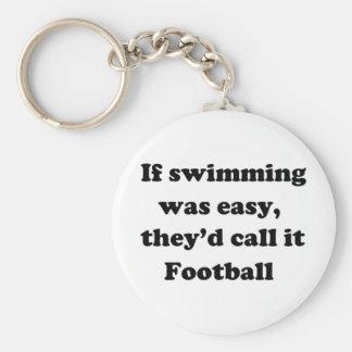 Fútbol de la natación llavero redondo tipo pin