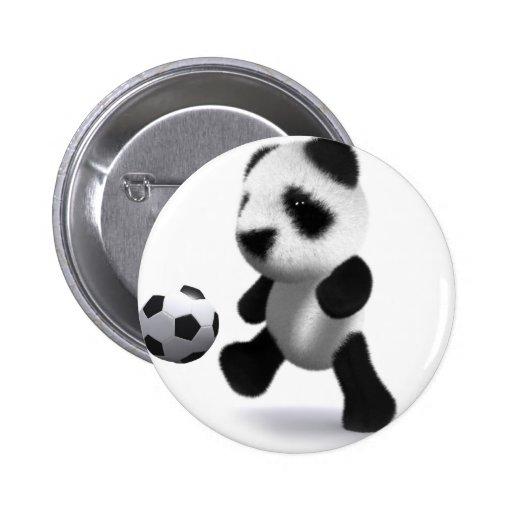 fútbol de la panda del bebé 3d pin redondo 5 cm