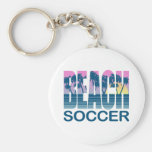 Fútbol de la playa llavero redondo tipo pin