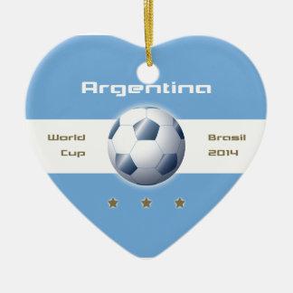 Futbol de la Selección Argentina bandera campeones Adorno Navideño De Cerámica En Forma De Corazón