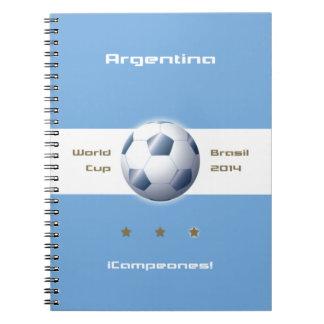 Futbol de la Selección Argentina bandera campeones Libro De Apuntes Con Espiral