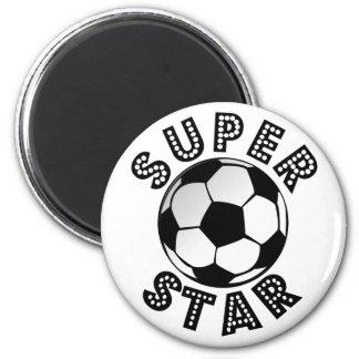 Fútbol de la superestrella imán redondo 5 cm
