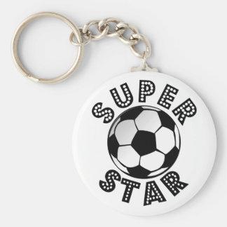 Fútbol de la superestrella llavero redondo tipo pin