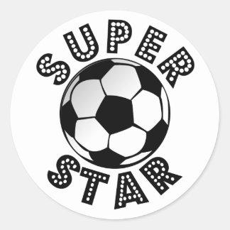 Fútbol de la superestrella pegatina redonda