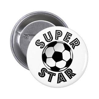 Fútbol de la superestrella pin redondo de 2 pulgadas
