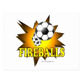 Fútbol de las bolas de fuego tarjeta postal