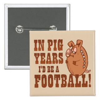 Fútbol de los años del cerdo pin cuadrada 5 cm