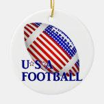 Fútbol de los E.E.U.U. (1) con el texto Ornamento De Navidad