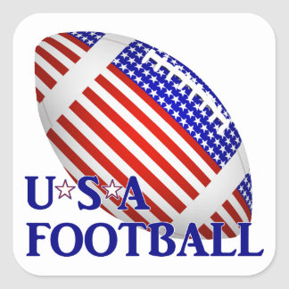 Fútbol de los E.E.U.U. (1) con el texto Pegatina Cuadrada