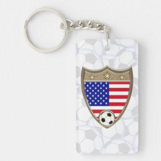 Fútbol de los E.E.U.U. Llavero Rectangular Acrílico A Doble Cara