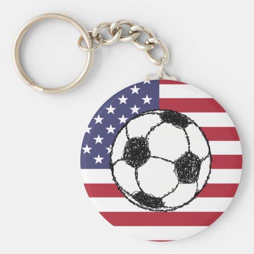 Fútbol de los E.E.U.U. Llavero Redondo Tipo Pin