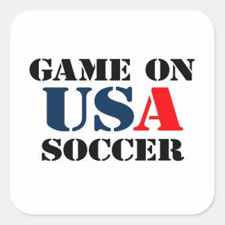 Fútbol de los E.E.U.U. Calcomanía Cuadrada Personalizada