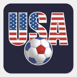 Fútbol de los E.E.U.U. Calcomanias Cuadradas