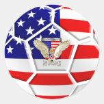 Fútbol de los E.E.U.U. Pegatina Redonda