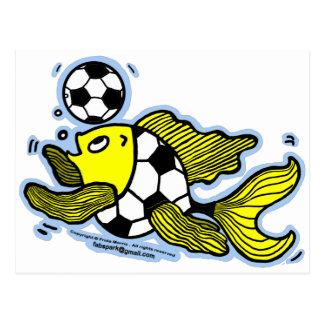 Fútbol de los pescados del fútbol postales